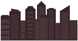 Stads- isolerad skyskrapa - landskap Royaltyfri Bild