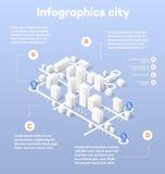 Stads Isometrische kaart Stock Afbeeldingen