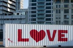 Stads- kärlekshistoria på en behållare Arkivfoto