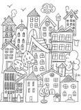 Stads kleurende pagina Stock Foto's