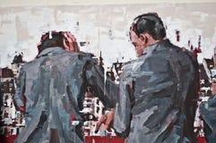 Stads- konst - män drar tillbaka Royaltyfria Bilder