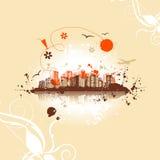 stads- konstbakgrundscityscape Arkivfoto