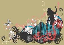 stads- kvinna stock illustrationer