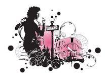 stads- kvinna vektor illustrationer