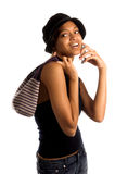 stads- kvinna för celltelefon arkivfoton