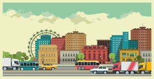 Stads- landskap stock illustrationer
