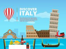 Stads- landskap av Italien Rome Historiska arkitektoniska objekt och symboler stock illustrationer