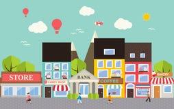 Stads- landskap för liten stad vektor illustrationer