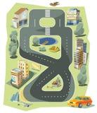 Stads- landskap för liten stad i plan designstil, vektorillustration vektor illustrationer