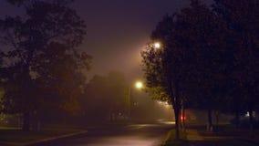 Stads- landskap för natt med dimma lager videofilmer