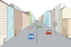 Stads- landskap i plan designstil Royaltyfria Bilder