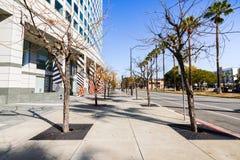 Stads- landskap i i stadens centrum San Jose, Silicon Valley, södra San fotografering för bildbyråer
