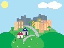 Stads- landskap i tecknad film royaltyfri illustrationer