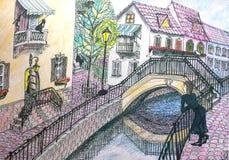 Stads- landskap, kanal, liten bro Royaltyfri Fotografi