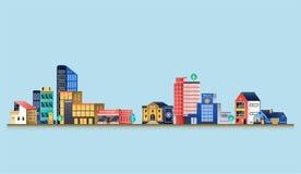 Stads- landskap med moderna byggnader Arkivbild
