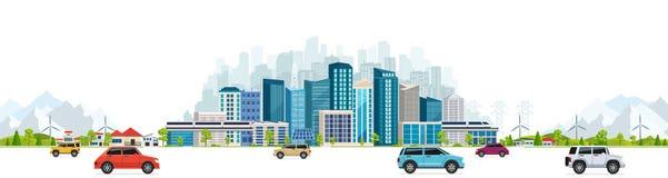 Stads- landskap med stora moderna byggnader stock illustrationer