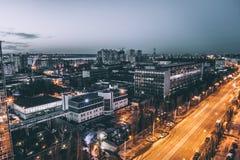 Stads- landskap, Voronezh stad i dramatiska lynniga signaler och kalla färger, natt Royaltyfria Foton