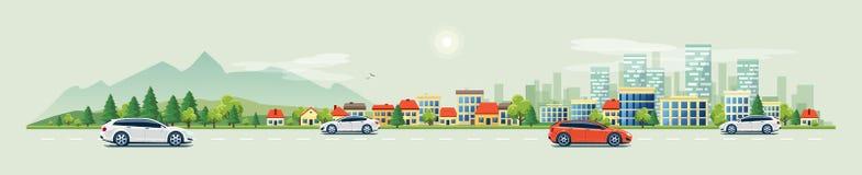 Stads- landskapgataväg med bilar och bergstadshorisont royaltyfri illustrationer