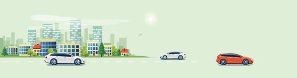 Stads- landskapgataväg med bilar och stadsbyggnadshorisont royaltyfri illustrationer
