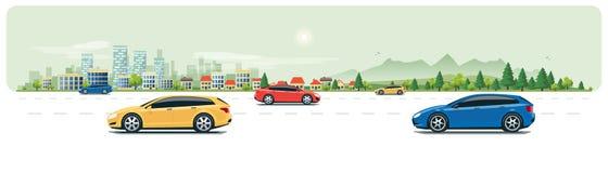 Stads- landskapgataväg med bilar och stadsnaturbakgrund royaltyfri illustrationer