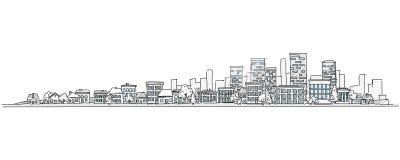 Stads- landskaphandteckning med stadshorisontbakgrund stock illustrationer