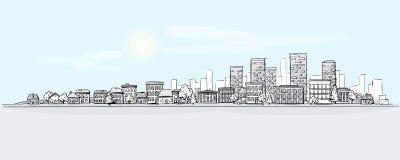 Stads- landskaphandteckning med stadshorisontbakgrund royaltyfri illustrationer