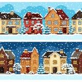 Stads- landskapmodell för vinter med hus Royaltyfri Foto