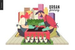 Stads- lantbruk och arbeta i trädgården royaltyfri illustrationer