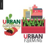 Stads- lantbruk- och arbeta i trädgårdenlogoer vektor illustrationer