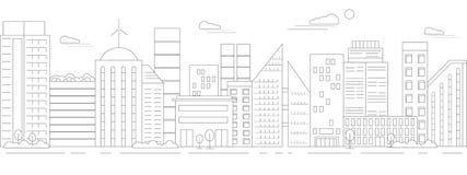 stads- liggandemonokrom stock illustrationer