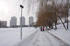 Stads- liv i vinter Två mödrar går med sittvagnar arkivbild