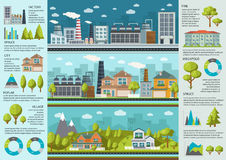 Stads- liv Infographics stock illustrationer
