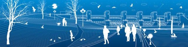 stads- livstid Stadsinvallning Folket promenerar trottoaren Den upplysta aftonen parkerar Leka för ungar flyga för fåglar Hydro m stock illustrationer