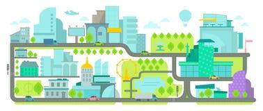 stads- miljö Baner med hus och vägar Arkivfoto