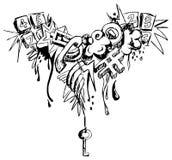 stads- mobil telefon för grafittigrunge royaltyfri illustrationer