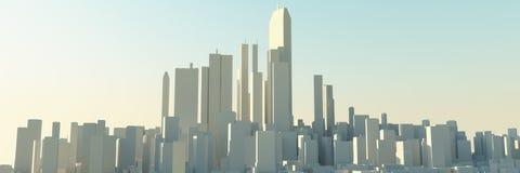 stads- modern horisont för stad Stock Illustrationer