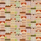 Stads naadloos patroon met gebouwen Stock Foto
