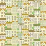 Stads naadloos patroon met gebouwen Royalty-vrije Stock Foto