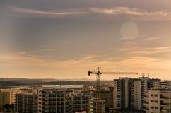 Stads- panorama, soluppgång Arkivfoto
