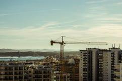 Stads- panorama, soluppgång Fotografering för Bildbyråer