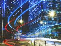 Stads- plats av Hong Kong Night Light Concept Arkivbilder