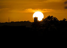 Stads- plats för solnedgång, Guayaquil, Ecuador Arkivfoton