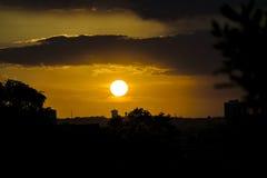 Stads- plats för solnedgång, Guayaquil, Ecuador Royaltyfri Fotografi
