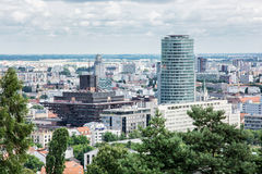 Stads- plats i Bratislava, huvudstad av Slovakien med slovakradion Royaltyfria Foton