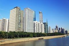 Stads- plats i Kina, Guangzhou cityscape, mordern stadslandskap och horisont Arkivbild