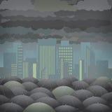Stads- regn vektor illustrationer