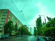 Stads- regnig dag arkivfoto