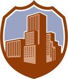 Stads- Retro skyskrapabyggnadssköld Arkivfoton