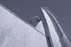 Stads- sikt för arkitektur av moderna arkitekturdetaljer för stad i svartvita signaler Arkivfoto