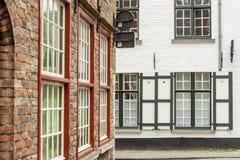 Stads- sikt - gammal Unesco-stad av Brugge, Belgien. Arkivfoto